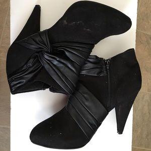 Black Swede Heel Booties, Size 9